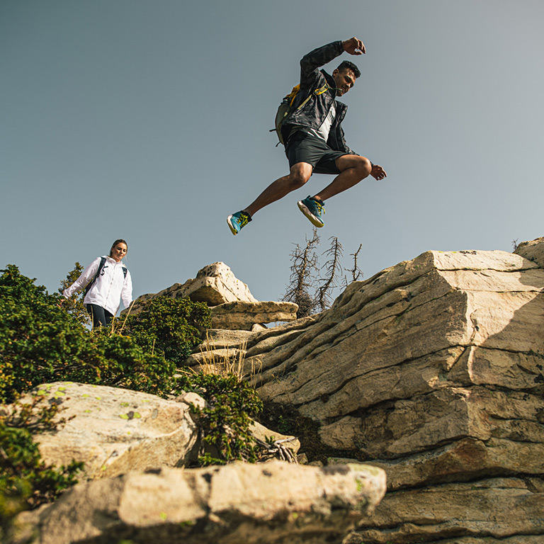 Hikers on a rocky trail in Facet.
