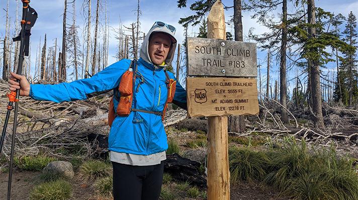 Endurance athlete Willie McBride on Mt Adams.