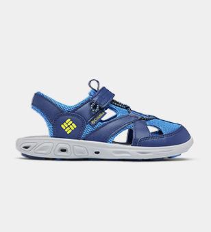 A blue kids water shoe.