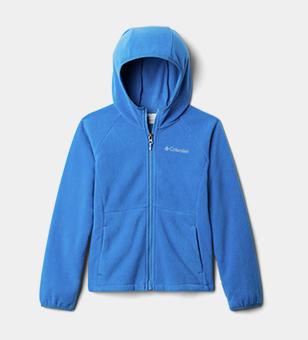 A blue kids fleece jacket.