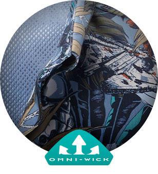 Close-up of Cantina Super Tamiami print featuring the Millennium Falcon. Omni-Wick logo.