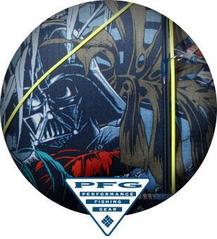 Close-up of Cantina Super Tamiami print featuring Darth Vader and a rod holder. PFG logo.