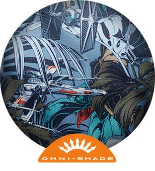 Close-up of Cantina Super Tamiami print featuring an X-wing starfighter. Omni-Shade logo.