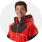 Close-up portrait of Alex Ferreira in Columbia ski gear.