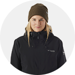 Close-up portrait of Cassie Sharpe in Columbia ski gear.