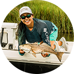 Close-up portrait of Cindy Nguyen in Columbia Performance Fishing Gear.