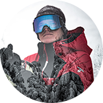 Close-up portrait of Curtis Ciszek in Columbia ski gear.
