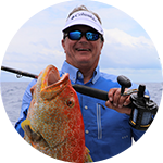 Close-up portrait of George Poveromo in Columbia Performance Fishing Gear.