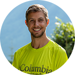 Close-up portrait of Joe McConaughy in Columbia Montrail trail running gear.