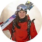 Close-up portrait of Sarah Hoefflin in Columbia ski gear.