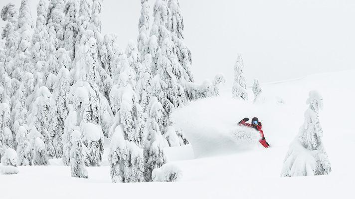 Curtis Ciszek snowboarding through deep powder.