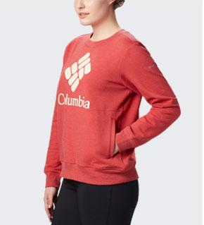 Womens Columbia Lodge crew sweatshirt in coral.