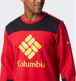 Mens Columbia Lodge Hoodie in red, black, and yellow.