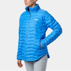 A woman in a puffy jacket.