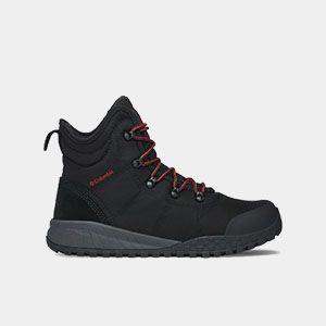 A black hiking boot.