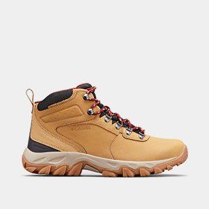 A short tan hiking boot.