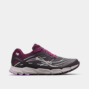 A gray and purple trail running shoe.