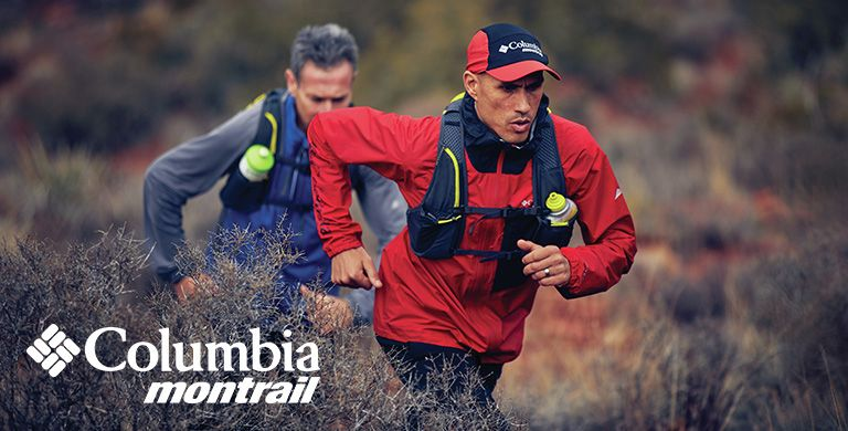 Columbia Montrail logo. Two men running on a trail.