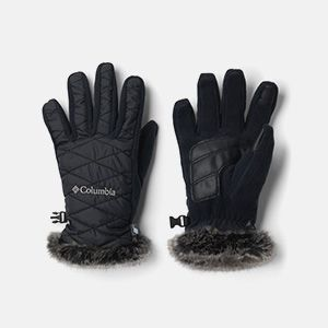 a pair of black fur trim gloves