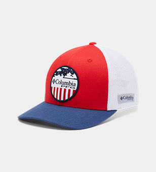 A red, white, and blue ball cap.