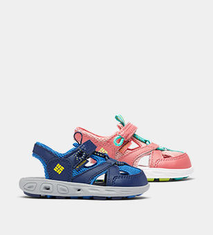 A blue and a pink toddlers sandals.