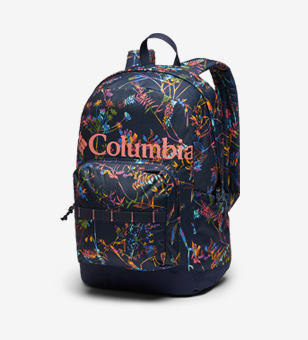 A colorful patterned kids backpack.