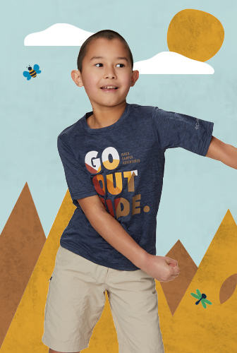 A child dancing in front of a sunny cartoon background
