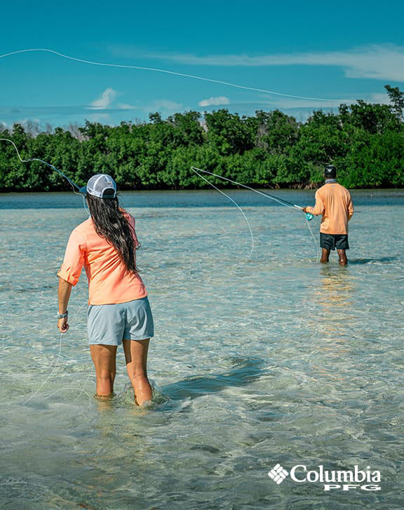 Anglers fishing in tropical water