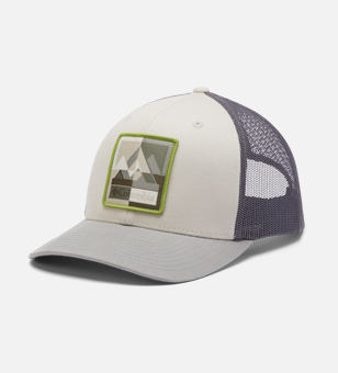 White and gray mens hat.