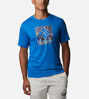 Man in a blue T-shirt