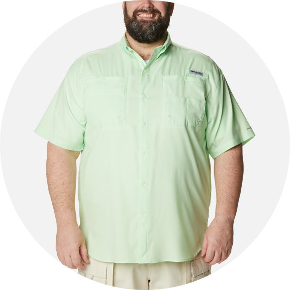 Man in a green button up Men's PFG Tamiami™ II Short Sleeve Shirt
