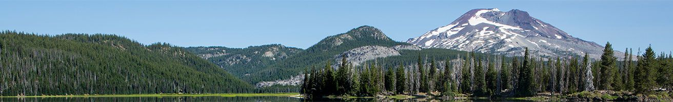 Panoramic photo of Deschutes National Forest with Mt.Bachelor in the backdrop