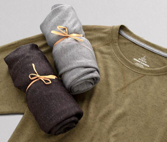 prAna shirts packaged in environmentally friendly packaging.