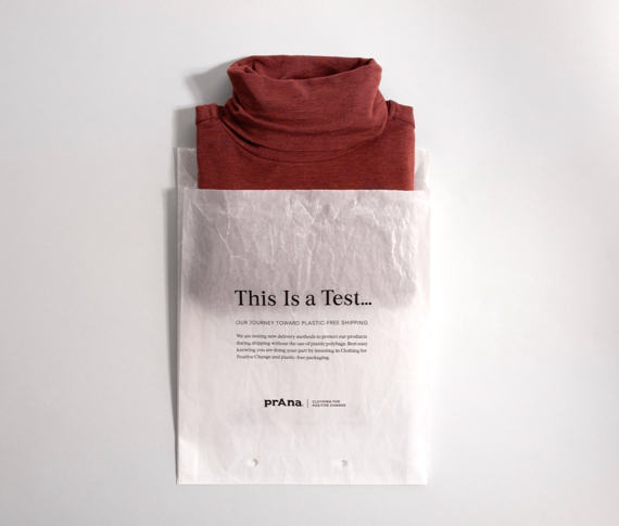 A prAna shirt packaged in environmentally friendly packaging.