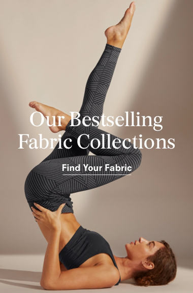 A woman represents the bestselling yoga fabric collections.