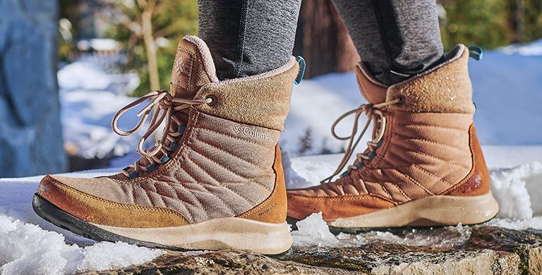 Close-up of Columbia winter boots.