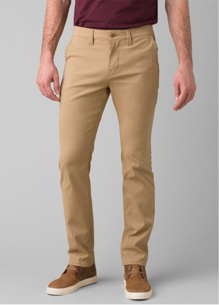 A man wearing, straight-fit Zion Chino Pant.