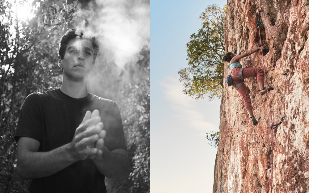 prAna characters Eduardo and Lucy in different stages of rocking climbing through Portugal.