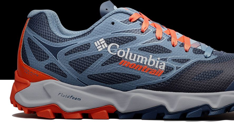 Close-up of a Columbia Montrail trail running shoe.