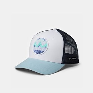 A white, black, and blue cap.