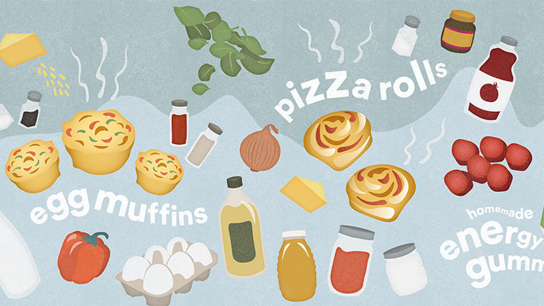Illustrations of all the ingredients to make egg muffins, pizza rolls and homemade energy gummies