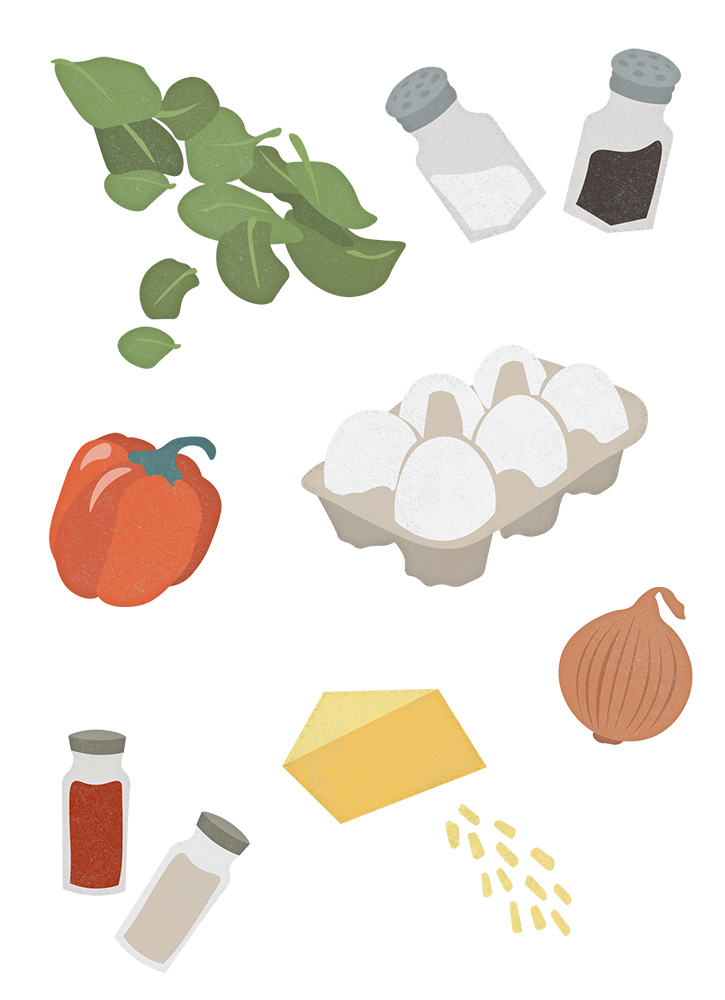 Illustrations of Egg Muffin ingredients