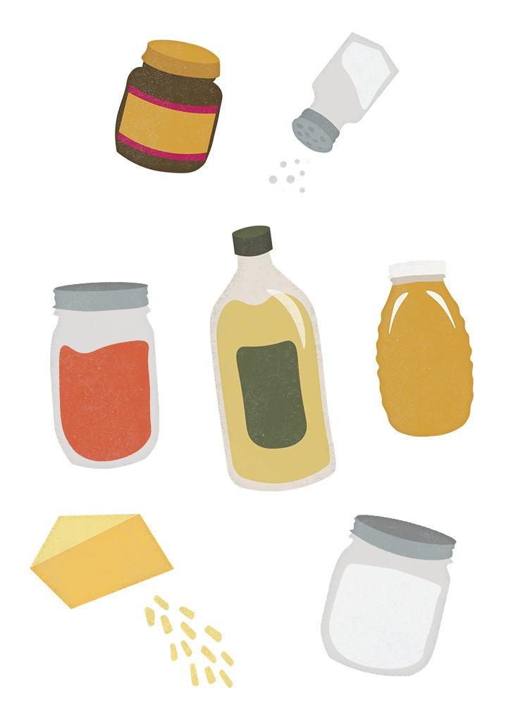 Illustrations of pizza roll ingredients
