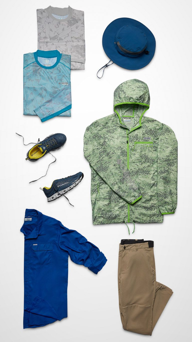 A top-down image of jackets, shoes, shirts, and hats.