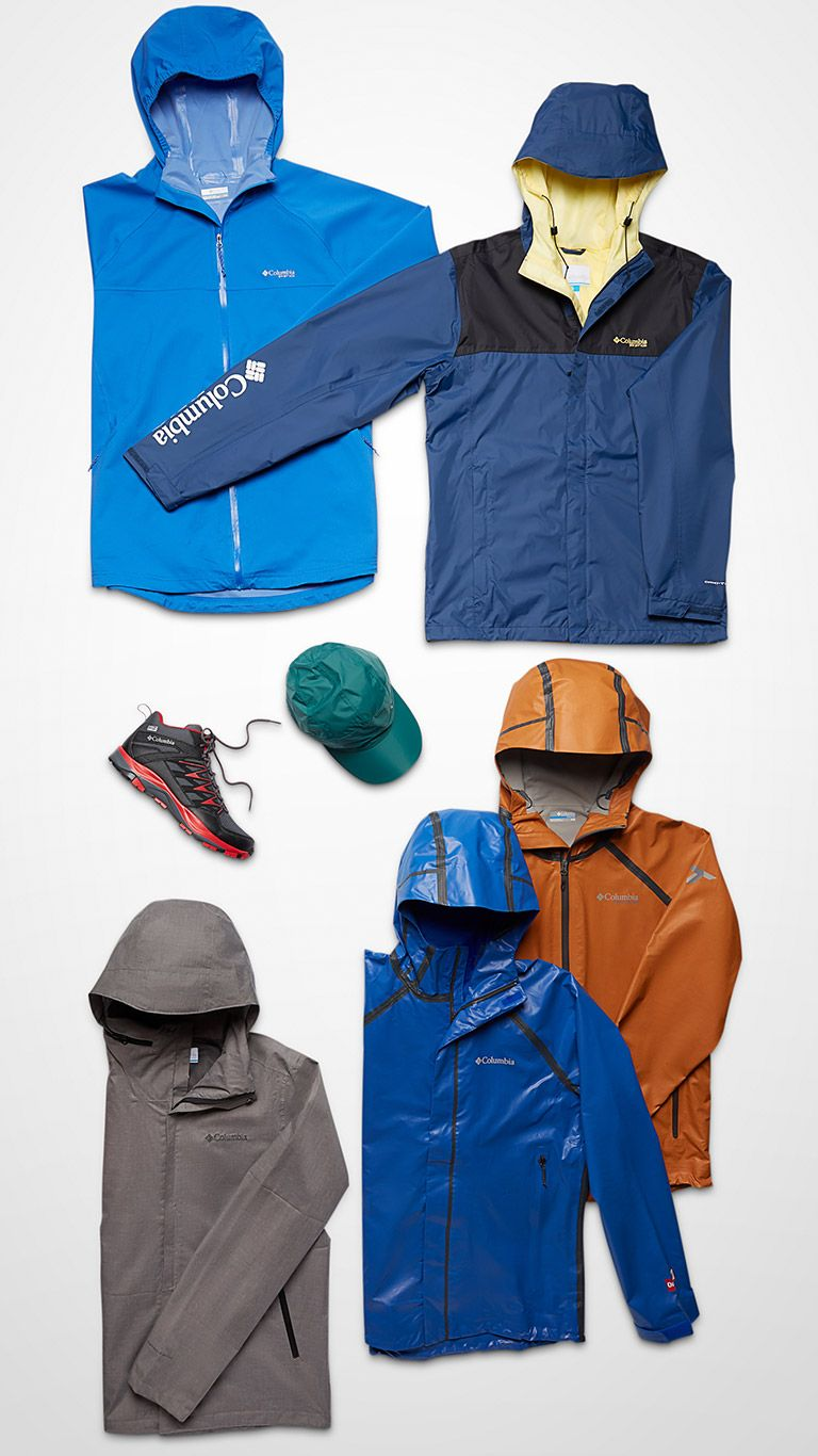 Jackets, shoes, and caps.
