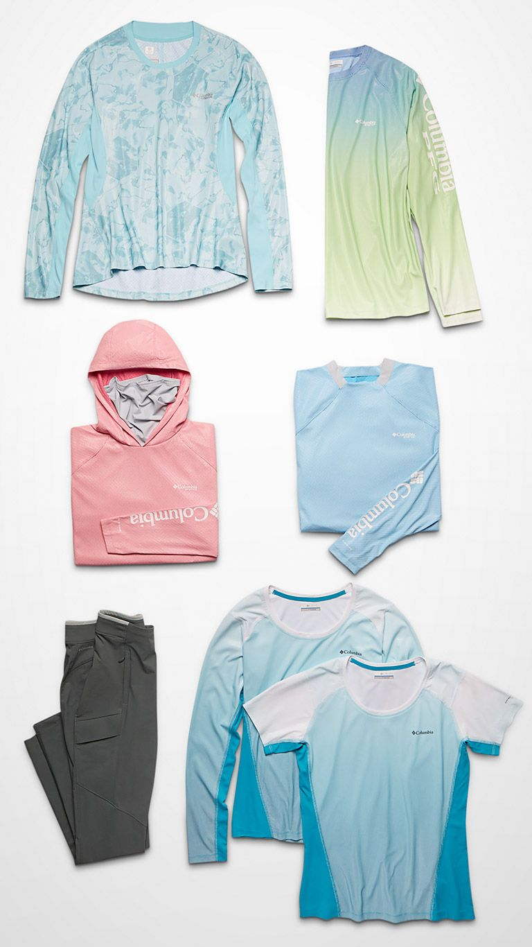 Top-down image of PFG jackets, tops, and pants.