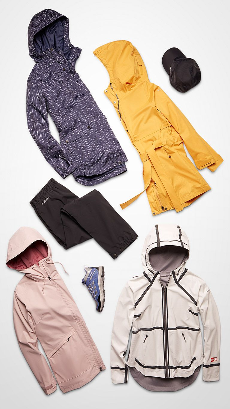 Top-down image of jackets, pants, cap, and shoes.