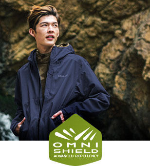 Omni-Shield logo. A man in a Columbia jacket with Omni-Shield.