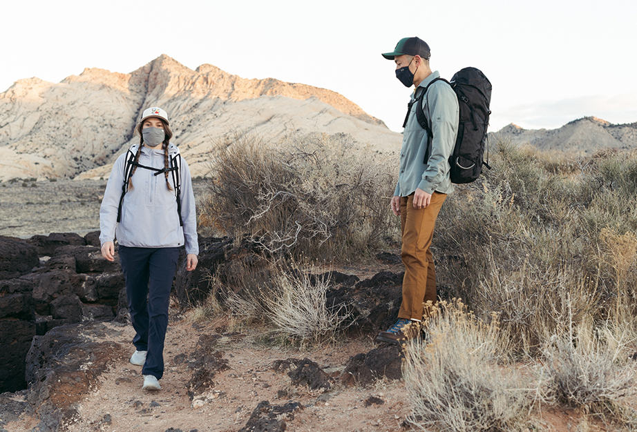 hiking in new Spring 21 apparel, wearing masks in Utah