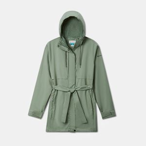 Green trench coat.